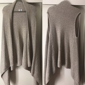 Sleeveless Cable Knit Open Cardigan